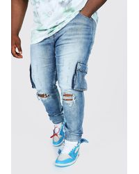 BoohooMAN Plus Size Skinny Cargo Jean With Ripped Knee - Blue