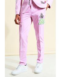 BoohooMAN Skinny Anzughose - Pink