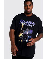 BoohooMAN Big And Tall Prince Purple Rain License T-shirt - Black