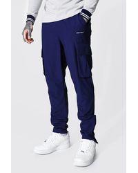 BoohooMAN Original Man Tapered Fit Cargo Trouser - Blau