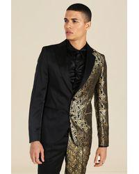 BoohooMAN Slim Spliced Jacquard Single Breasted Suit Jacket - Black