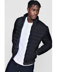 Boohoo Quilted Ponte Sleeve Jacket - Black
