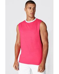 BoohooMAN Ringer Drop Armhole vest - Pink