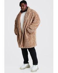 BoohooMAN Plus Size Faux Fur Teddy Coat - Multicolor