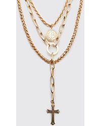 BoohooMAN Collier superposé à 3 couches avec pendentif croix - Métallisé