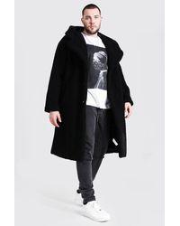 BoohooMAN Plus Size Borg Hooded Longline Jacket - Black