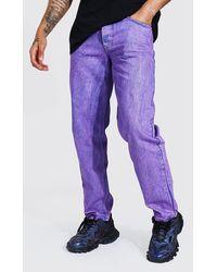 BoohooMAN Relaxed Fit Jeans in Batik-Optik - Lila