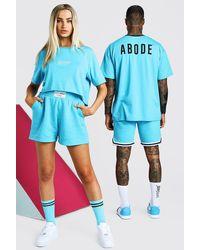 BoohooMAN ABODE Hers Set aus kurzem T-Shirt und Shorts - Blau
