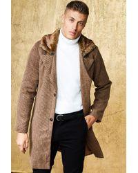 BoohooMAN - Faux Fur Collar Wool Look Coat - Lyst