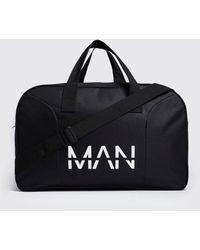 BoohooMAN Man Branded Nylon Holdall - Black