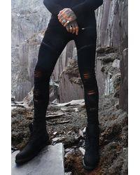 BoohooMAN Super Skinny Rip & Repair Biker Jeans - Black