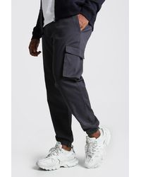 BoohooMAN Big And Tall Utility Pocket Cargo Jogger Trouser - Gris