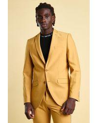 BoohooMAN Skinny-Anzugjacke mit Streifen am Rücken - Gelb