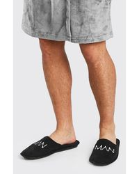BoohooMAN Man Dash Velour Slipper - Black