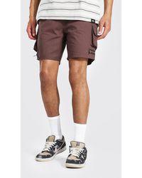 BoohooMAN Tall Man Twill Cargo-Shorts mit Taschen und Reißverschluss - Braun