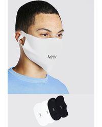BoohooMAN 4er-Pack Fashion-Masken mit MAN-Markenmotiv - Blau