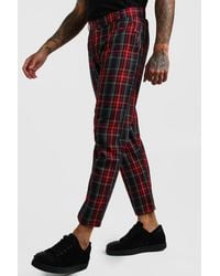 BoohooMAN Smart Cropped Tartan Trousers - Red