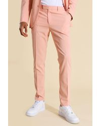 BoohooMAN Skinny Coral Suit Trousers - Pink