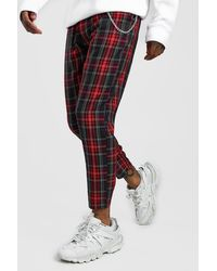 BoohooMAN Smart Cropped Tartan Pants With Chain - Red