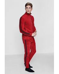 Boohoo - Red Velour Stripe Tracksuit - Lyst
