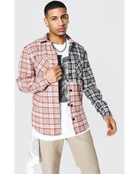 BoohooMAN Spliced Check Overshirt With Poppers - Braun