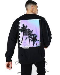 BoohooMAN Oversized Pasadena Palm Back Print Sweatshirt - Black