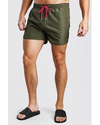 BoohooMAN Plain Runner Style Swim Shorts With Contrast Cords - Multicolour