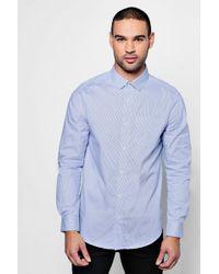 Boohoo - Long Sleeve Smart Stripe Shirt - Lyst