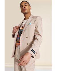 BoohooMAN Zweireihige Anzugjacke mit Taschen - Braun