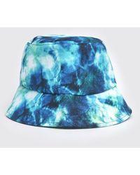 BoohooMAN Tie Dye Bucket Hat - Blue