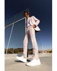 BoohooMAN Florale Skinny Jacquard-Anzughose - Pink