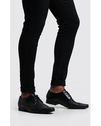 BoohooMAN Embossed Vamp Smart Shoe - Black
