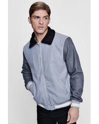 Boohoo - Contrast Sleeve Borg Collar Varsity Jacket - Lyst
