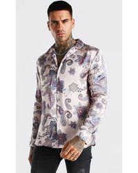 BoohooMAN Long Sleeve Paisley Print Satin Shirt - Natural