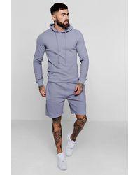BoohooMAN Piqué-Hoodie zum Überziehen und Kurzer Trainingsanzug - Blau