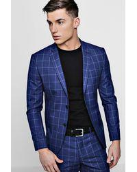 BoohooMAN Skinny Fit Windowpane Check Blazer - Blue