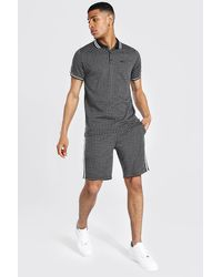 BoohooMAN Man Jacquard Polo And Short Set With Tape - Black