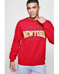 Boohoo - New York State Chest Print Sweatshirt - Lyst