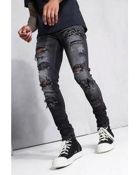BoohooMAN Zerrissene Super Skinny Biker-Jeans - Schwarz