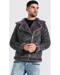 BoohooMAN Faux Fur Lined Suede Aviator Jacket - Grey