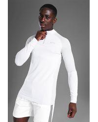 BoohooMAN Top zippé sans coutures - Blanc