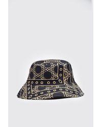 BoohooMAN Border Print Bucket Hat - Black