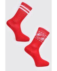 BoohooMAN 2 Pack Printed Socks - Red