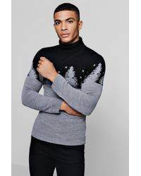 Boohoo Muscle Fit Forest Roll Neck Christmas Jumper - Black