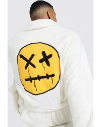 BoohooMAN Fleece-Bademantel mit Trippy-Print - Mehrfarbig