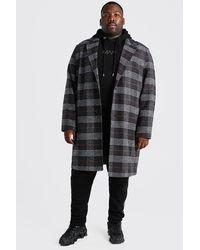 BoohooMAN Big & Tall Einreihiger Mantel mit Karo - Grau