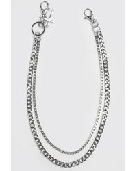 BoohooMAN Double Layer Jeans Chain With Cross - Grau