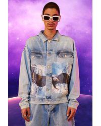 BoohooMAN Oversized Eagle Print Denim Jacket - Bleu