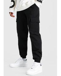 BoohooMAN Skinny Fit Cargo-Hose aus Twill mit Bündchen - Schwarz