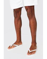 BoohooMAN Flip Flops - White